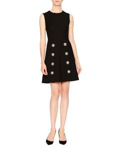 Dolce & Gabbana Sleeveless Embellished-Daisy Dress, Black ---  2,336.36€ /// Neiman Marcus