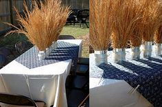 like the set up for adults table but use burlap and bandana