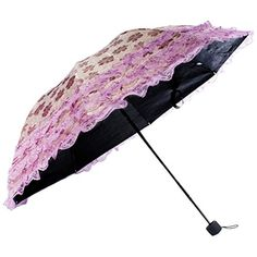 kilofly Ladies Floral Lace Trimming Parasol Folding Umbrella AntiUV UPF 40 ** Read more reviews of the product by visiting the link on the image. (This is an affiliate link)