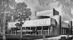 Musical Arts Center, Indiana University, Bloomington, Indiana, 1965-68 Bloomington Indiana, Indiana University, Drawing Sketches, Evans, Opera, Ballet Theater, Architectural Drawings, History, Building