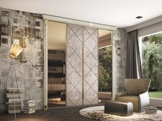 Exclusive wardrobe built-in with bronze mirror, gold finishing  and suede, made in Florence
