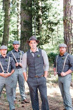 Country Weddings rustic country groom attire cowboy style jacquelynn brynn 27 - Rustic groom attire become more and more popular. Waistcoats, suspenders, caps and jeans all combine to achieve rustic groom attire. Country Groom Attire, Groomsmen Attire Grey, Groom Outfit, Groom And Groomsmen, Casual Groom Attire, Mens Casual Wedding Attire, Cowboy Wedding Attire, Mismatched Groomsmen, Groom Vest