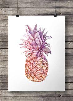 Aquarell-Ananas-Abbildung - Digital bedruckbare Wandkunst