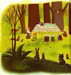 Snow White and the Seven Dwarfs Golden Book 26 Illustration Children, Children's Book Illustration, Snow White Art, Disneyland Princess, Fantasia Disney, Mary Blair, Seven Dwarfs, Animation Background, Disney Scrapbook