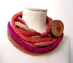 Knit Loop Scarf Necklace, Infinity Scarlette Neckwarmer - Red, Purple, Orange, Mustard Yellow ombre yarn with big wood button - Handmade by ixela designed in Italy