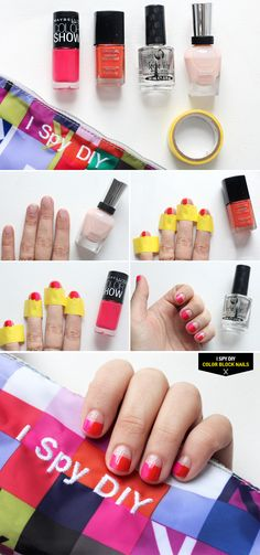 STEPS | Red & Pink Colorblock Nails