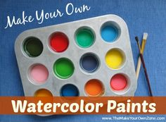 Learn how to make your own watercolor paint set with supplies from your kitchen - easy and fun for both kids and adults!