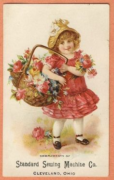 Victorian Trade Card Standard Sewing Machine Girl in Pink with Flower Basket