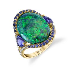204f99c928a4 Sweet! Black Opal and Tanzanite Ring Anillos De Piedra