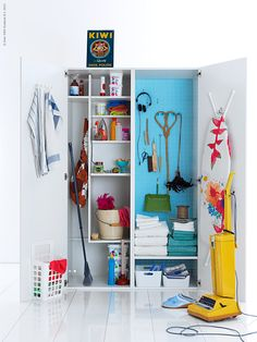 Great broom closet organization tips from Ikea Broom Closet Organizer, Broom Storage, Ikea Storage, Closet Storage, Laundry Room Organization, Organization Hacks, Turquoise Room, Diy Home Decor, Room Decor