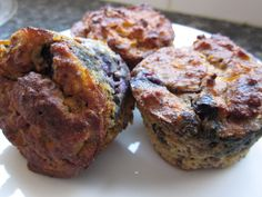 The Best Breakfast Muffins- Has many different healthy contents such as almond flour, bananas, eggs which contain protein, carrots, walnuts, and flax meal.