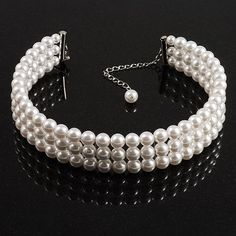 9c48bb20d 3 Tier Glass Pearl Collar Necklace In Silver Plating (Snow White) ** Visit