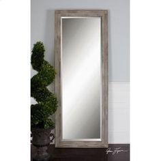"Uttermost 13834 Fergus: Frame has a heavily distressed, rust ivory finish. Mirror has a generous 1 1/4"" bevel. http://keyhomefurnishings.com, Lake Oswego, Oregon."