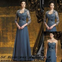New styles long sweetheart neckline lace modest vintage mother of the groom dress with jacket $75~$135