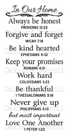 """In Our Home STENCIL with Bible Verses 12""""x24"""" for Painting Signs Wood Canvas Fabric Airbrush Crafts"""