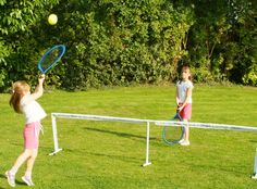 Play tennis in your own garden with this set. Includes two rackets, extra wide durable net, poles and two tennis balls with a pump. Outdoor Play, Indoor Outdoor, Outdoor Living, Tennis Set, Tennis Equipment, Garden Games, Color Box