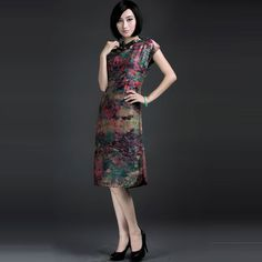 Slant Collar Watered Gauze Vintage Chinese Dresses Retro - $309 - SKU: 897766 - Buy Now: http://elegente.com/nzx.html #ChineseladyQipao #Qipao #Cheongsam