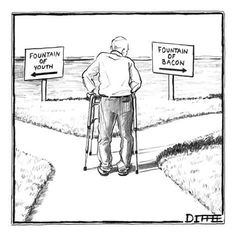 Premium Giclee Print: An elderly man is seen standing next to two arrow signs pointing in opposi… - New Yorker Cartoon by Matthew Diffee : 12x12in