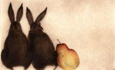 C. C. Barton - Deux Lapins et Poire (Two Rabbits with Pear)
