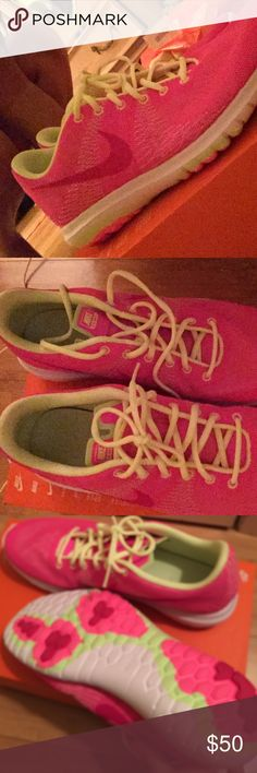 Brand new Nike Flex Sneakers⭐️FINAL MARKDOWN ⭐️ Perfect condition Nike Roshe shoes. Beautiful pink with lime green size 7Y= 8 1/2 in women's Open to all reasonable offers  Nike Shoes Sneakers