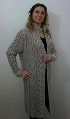 Hand knitted Gray Boyfriend Coat Cardigan Cable by Istanbulknit