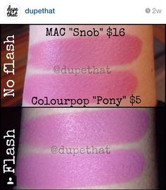 """Dupe for Mac Snob = Colourpop Pony, from """"dupethat"""" on Instagram."""