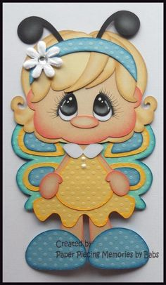 Butterfly Blonde Hair Premade Paper Piecing Die Cut for Scrapbook Page by Babs