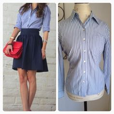 Striped top Striped top white blue in very good condition size 10 Allison daley  Tops Button Down Shirts