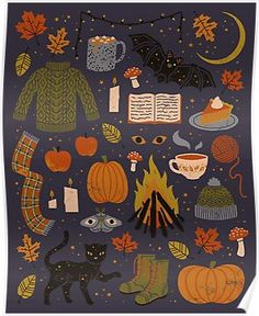The Artwork of Camille Chew Cute Autumn/Halloween wallpaper. Illustration Inspiration, Illustration Art, Halloween Illustration, Autumn Cozy, Autumn Feeling, Autumn Aesthetic, Witch Aesthetic, Fall Wallpaper, Grafik Design