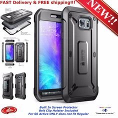 For Samsung Galaxy S6 Active Cover Dual Case Screen Protector Belt Clip Holster 658551822888 | eBay