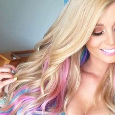 Add more to char's blonde hair with pink peekaboo? Long Blonde Hair with Pink, Purple, Teal, Peek a Boo Highlights Pink Blonde Hair, Blonde Color, Purple Hair, Purple Teal, Pink Turquoise, Pastel Hair, Darker Blonde, Violet Hair, Burgundy Hair