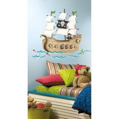 Pirate Ship Peel & Stick Giant Wall Decals - RMK2042SLM