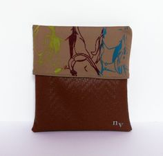 Brown Woven Clutch with Artwork by nvartewear2 on Etsy, $40.00
