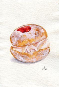 Cherry doughnut with cream - Miniature Painting (Still Life, Kitchen Wall Art, Watercolour Food Illustration)