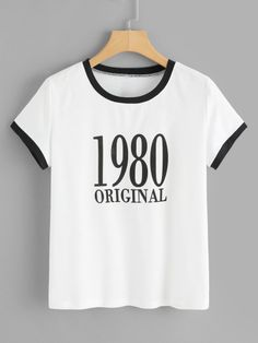 Shop Letter And Number Print Ringer Tee