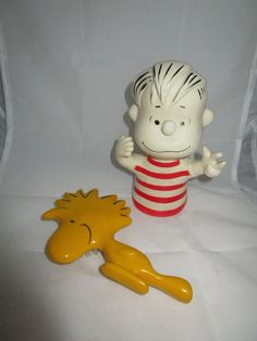 Avon Peanuts WOODSTOCK Yellow Child's Hairbrush & LINUS Rubber Bath Toy Vintage #Avon