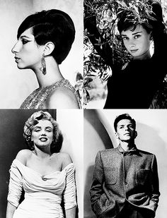 Barbra Streisand, Audrey Hepburn, Marilyn Monroe, and Frank Sinatra by Philippe Halsman