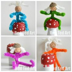 Super simple pipe cleaner elves, no glue needed (if hatless) and the mushrooms double up as ADORABLE Christmas decorations the kids can make via www.redtedart.com ...... Be cool to make the traditional Six emblems