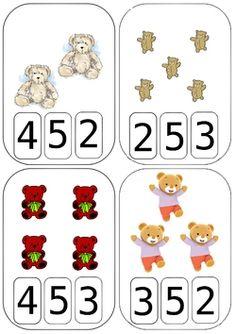 "Cartes à compter ""nounours"" Bears Preschool, Numbers Preschool, Free Preschool, Preschool Kindergarten, Animal Worksheets, Kids Math Worksheets, Math For Kids, Kids Education, Teddy Bear"
