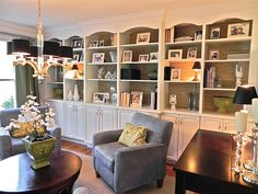 bookcases on base cabinets for living area