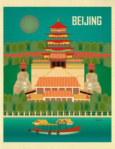 Beijing, China Skyline - 8 x 10 Vertical Wall Art Print for Home, Office, and Nursery - style E8-O-BEI