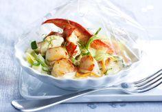 Papillote de homard et Saint-Jacques au Champagne, Voir la recette de laPapillote de homard et Saint-Jacques au Champagne