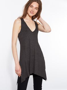 Long ribbed racerback tank top with asymmetric hem