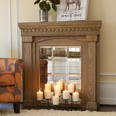 Ways to Update your space for Fall - Fake a fireplace! Angelo Home Aegean Mirrored Mantel Facade