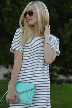 touches of mint to a neutral striped dress, rebecca minkoff, kendra scott and fossil.