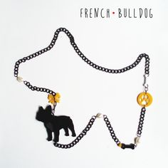 FRENCH BULLDOG long necklace dogs lovers black white by DARQDESIGN