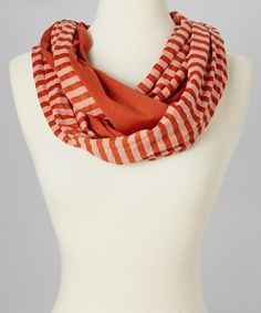 Take a look at this Dark Red Stripe Infinity Scarf by SAKA INC. on #zulily today!