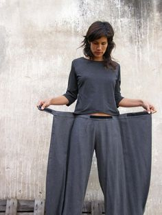 Unique grey linen Womens pants-Origami trousers/ 4 way pants-womens wrap pants-Wide pants-Convertible pants. $125.00, via Etsy.