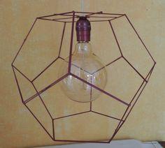 Pantalla dodecaedro para lámpara de techo, hecha a mano 34x27. Color rojo.