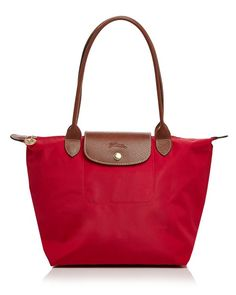 Longchamp Pliage Medium Shoulder Bag (red or black with brown straps) long handles